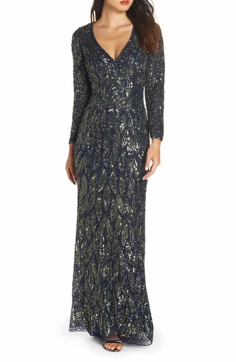 42cab8d889 Mac Duggal Beaded Long Sleeve Gown