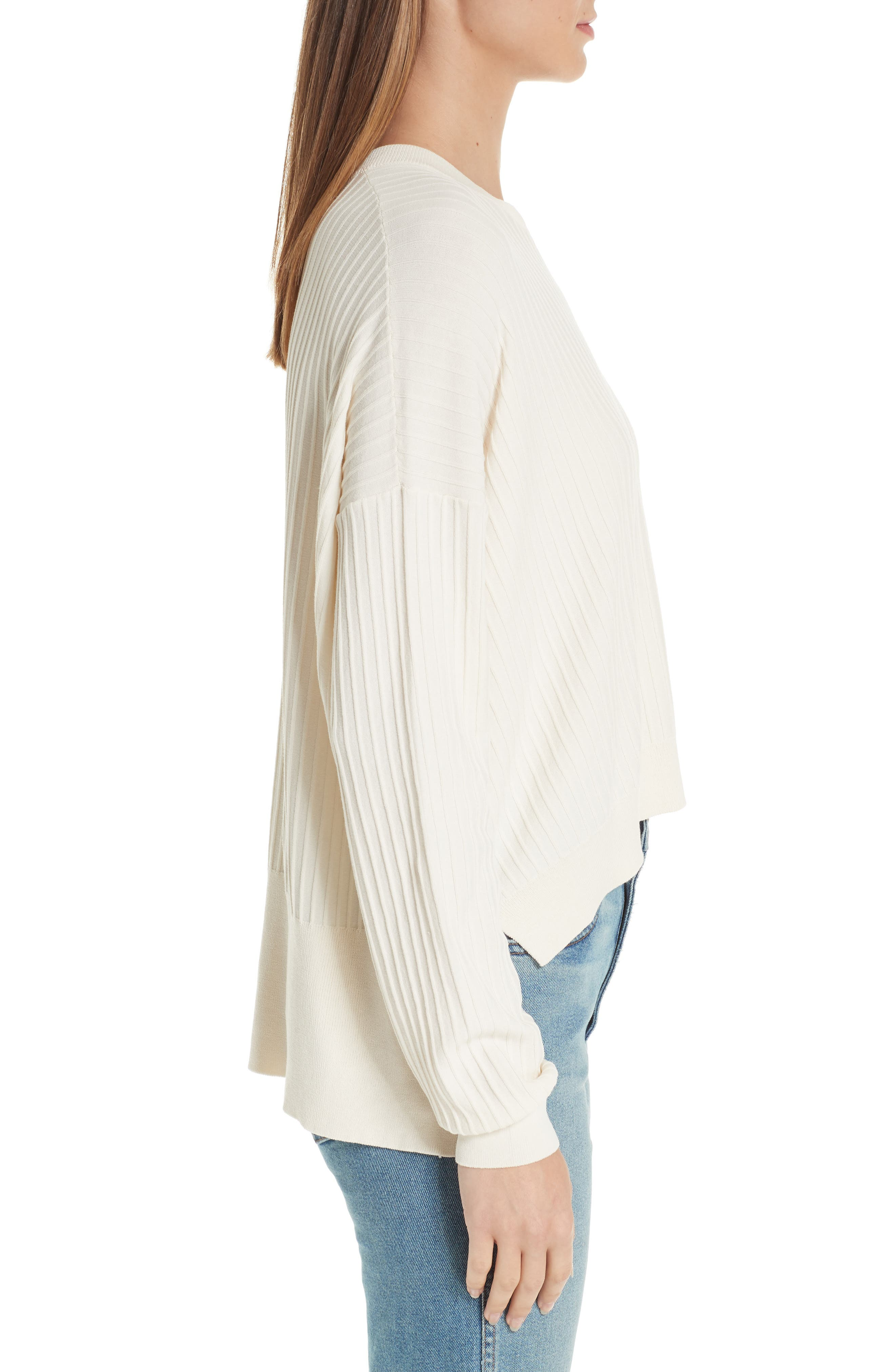 Issy Ribbed Sweater,                             Alternate thumbnail 3, color,                             Off-White