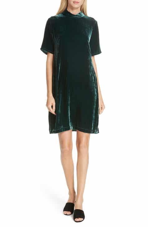 Eileen Fisher Tie Back Velvet Shift Dress (Regular & Petite)