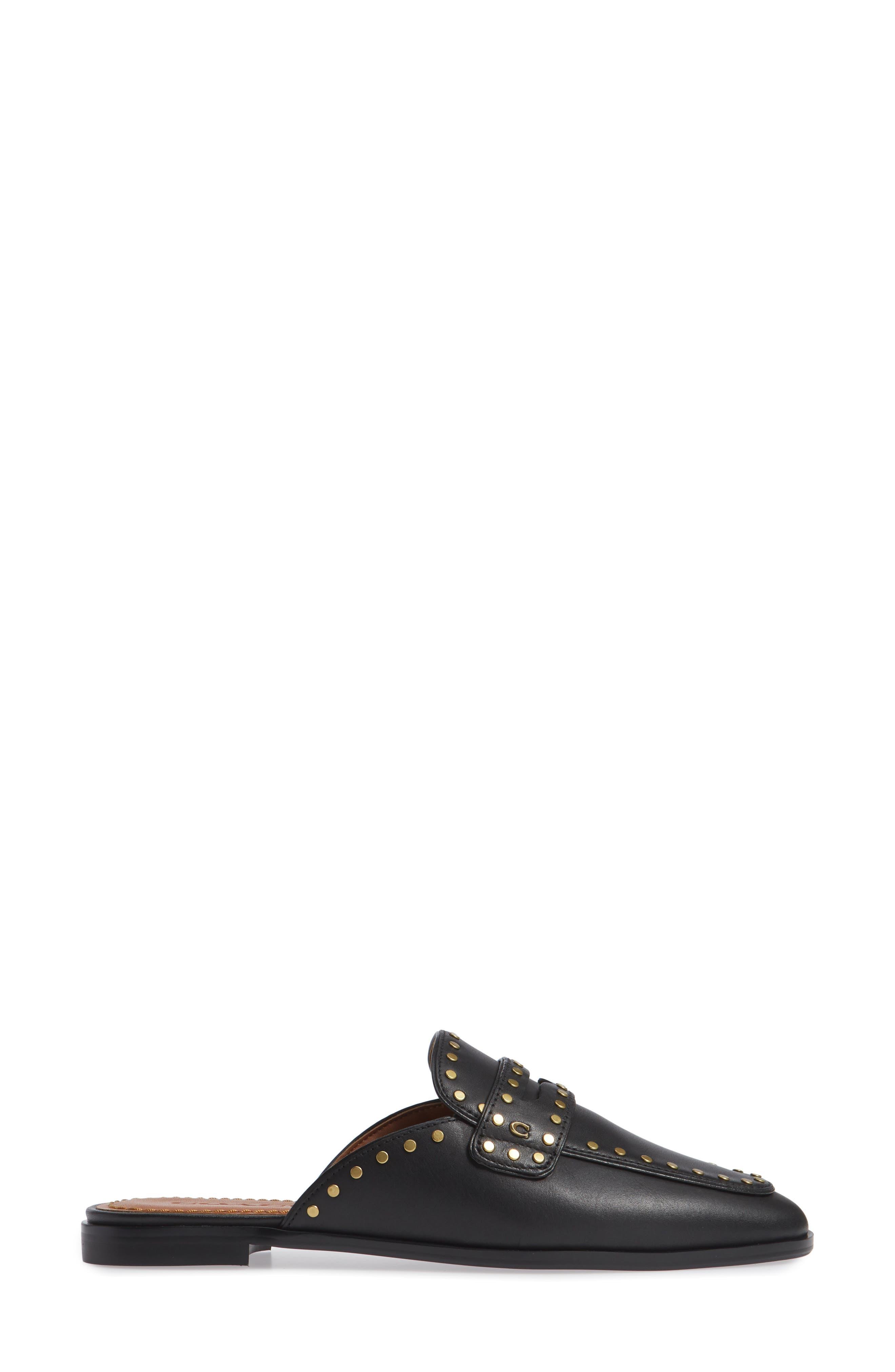 Fiona Loafer Mule,                             Alternate thumbnail 3, color,                             Black Elather