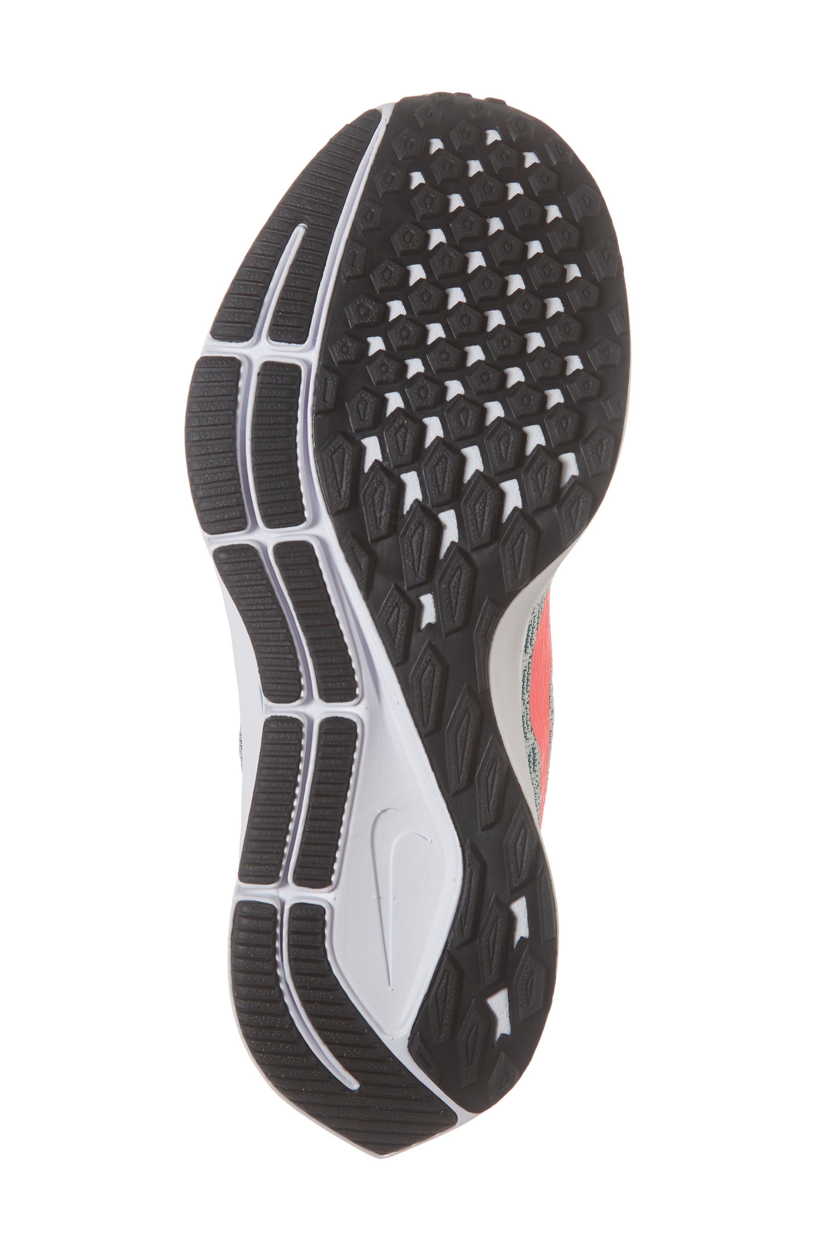 Air Zoom Pegasus 35 Sneaker,                             Alternate thumbnail 4, color,                             Grey/ Hot Punch/ Teal/ Black