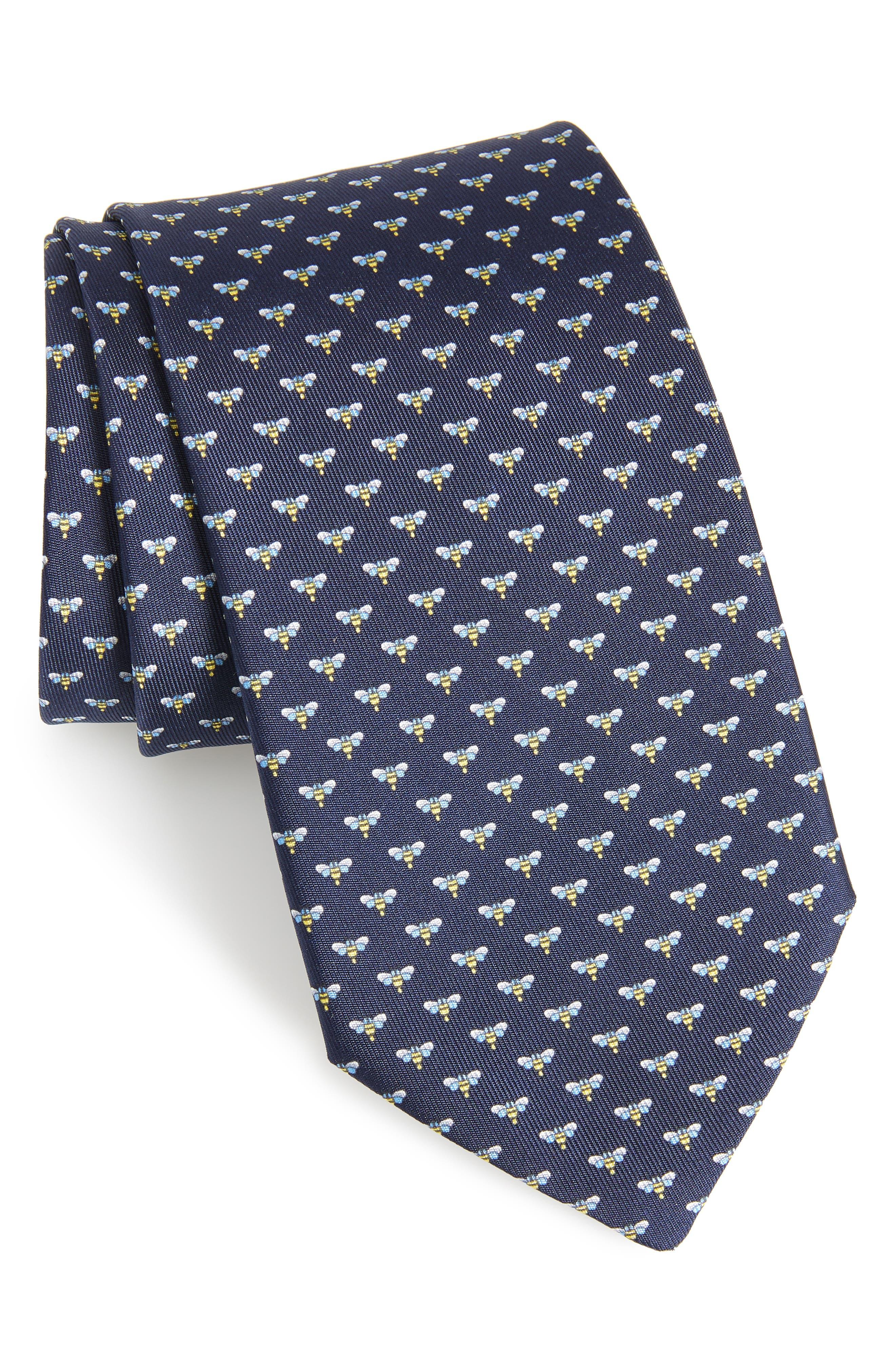 Falena Print Silk Tie,                         Main,                         color, Navy
