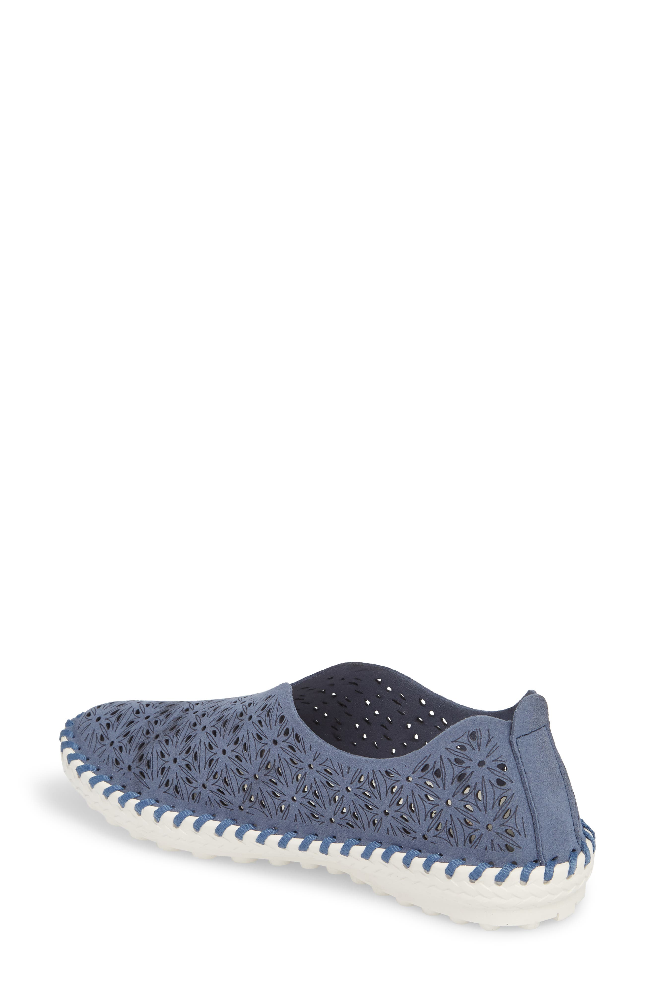 Perforated Slip-On Flat,                             Alternate thumbnail 2, color,                             Navy Leather