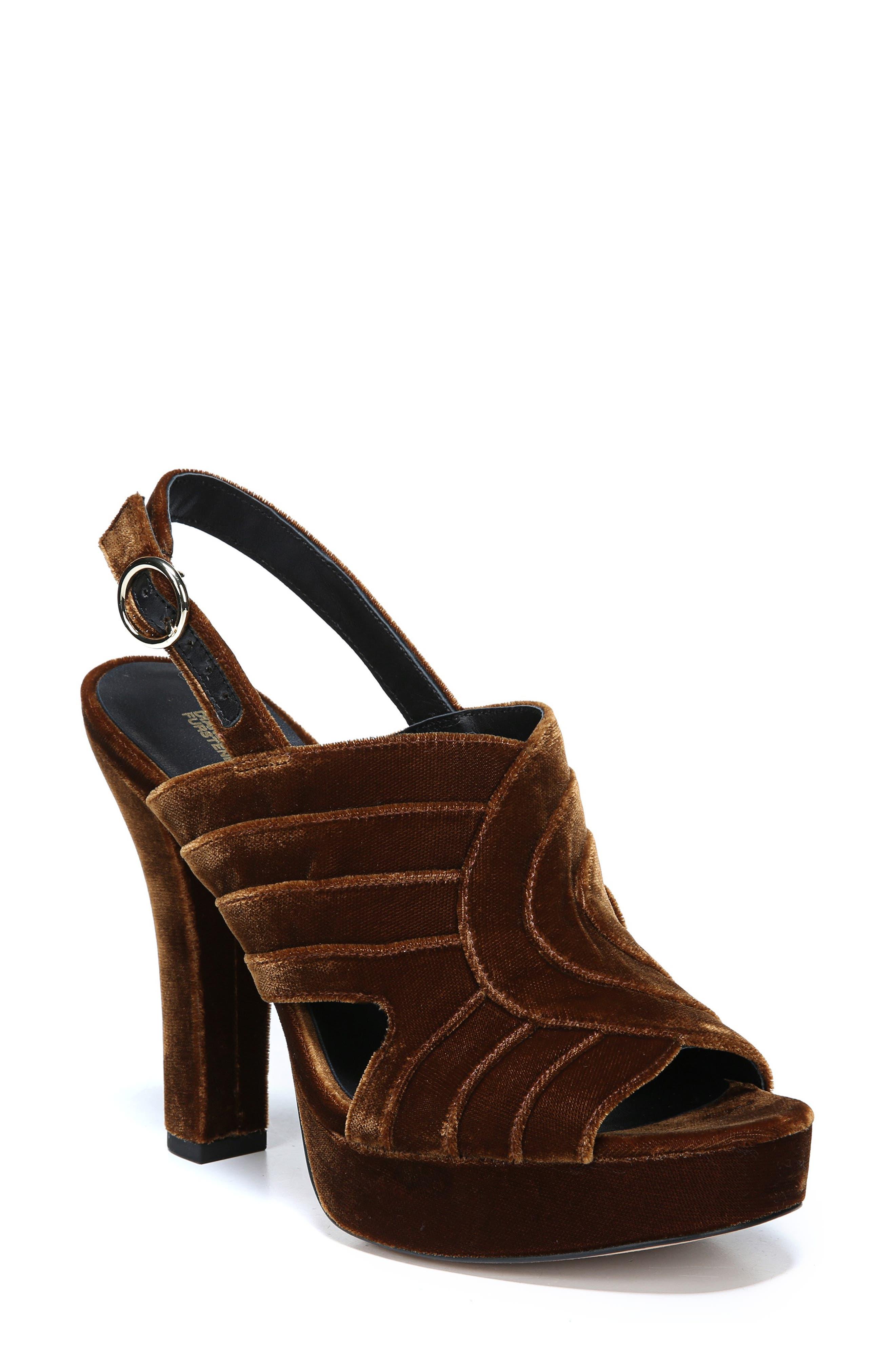 Tabby Layered Velvet Platform Slingback Sandals in Mustard
