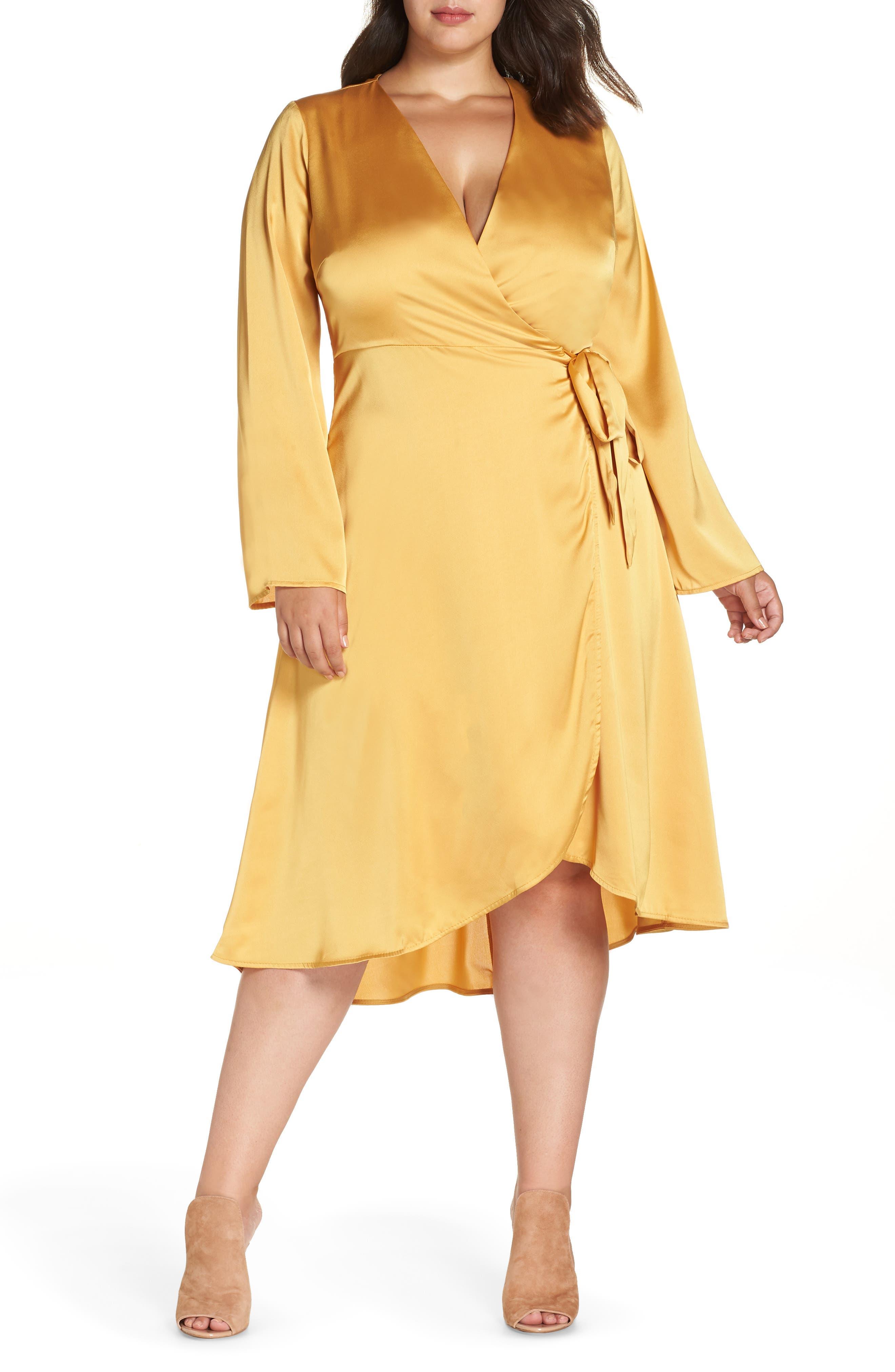 Lost Ink Satin Wrap Dress (Plus Size)