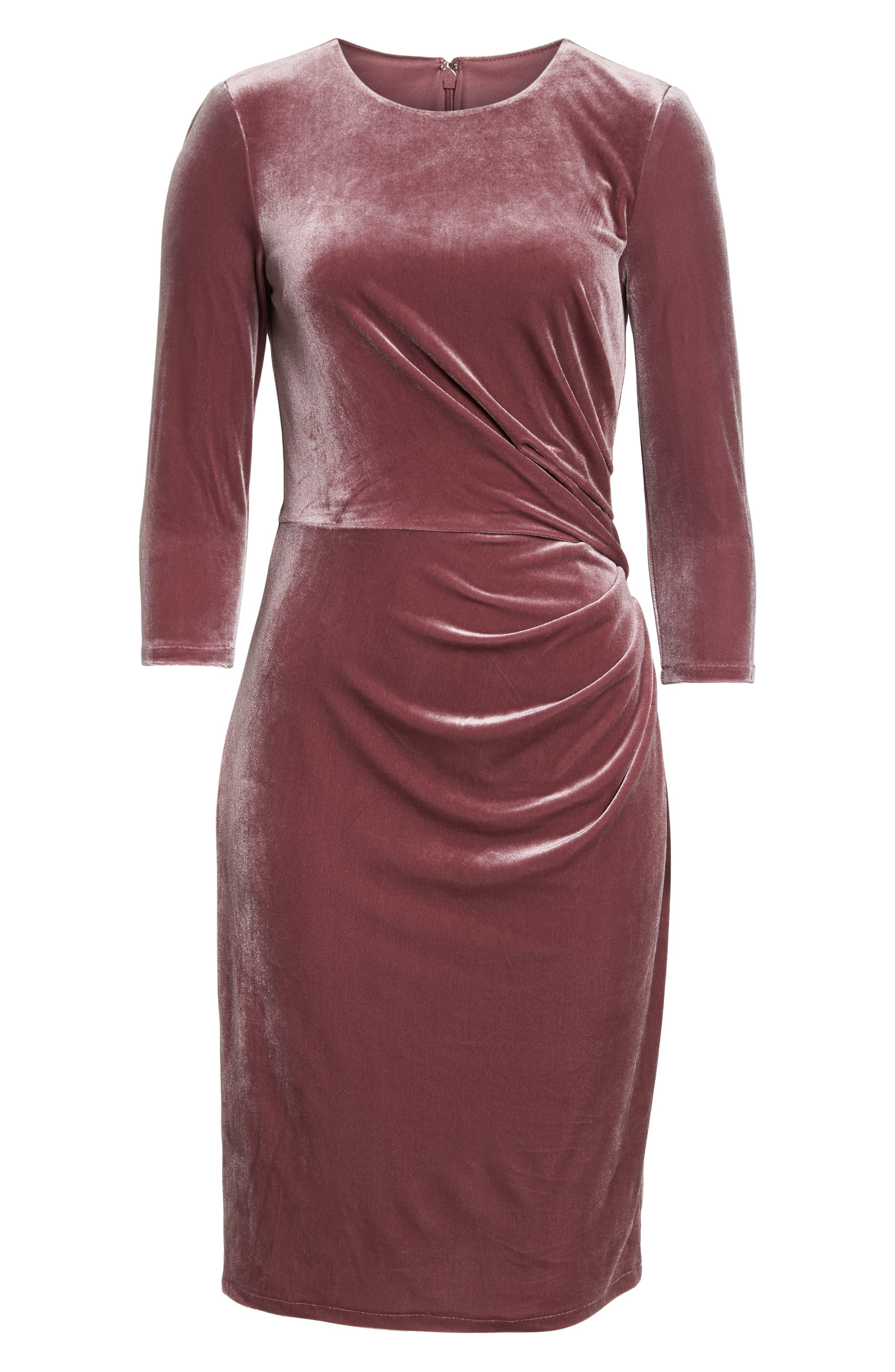 Velvet Sheath Dress,                             Alternate thumbnail 7, color,                             Rose