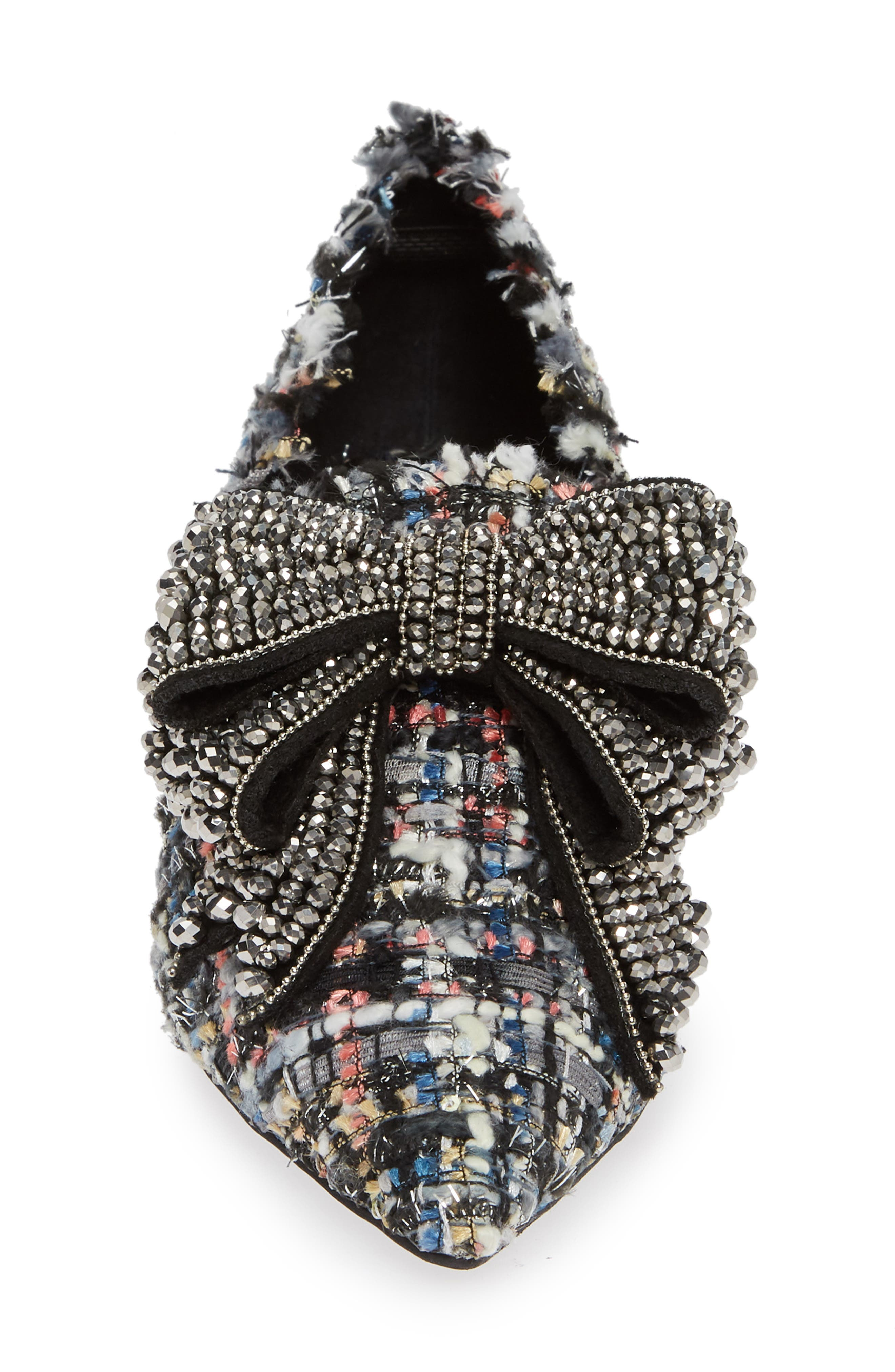 Valenti Embellished Bow Loafer,                             Alternate thumbnail 6, color,                             Black Multi Tweed Pewter