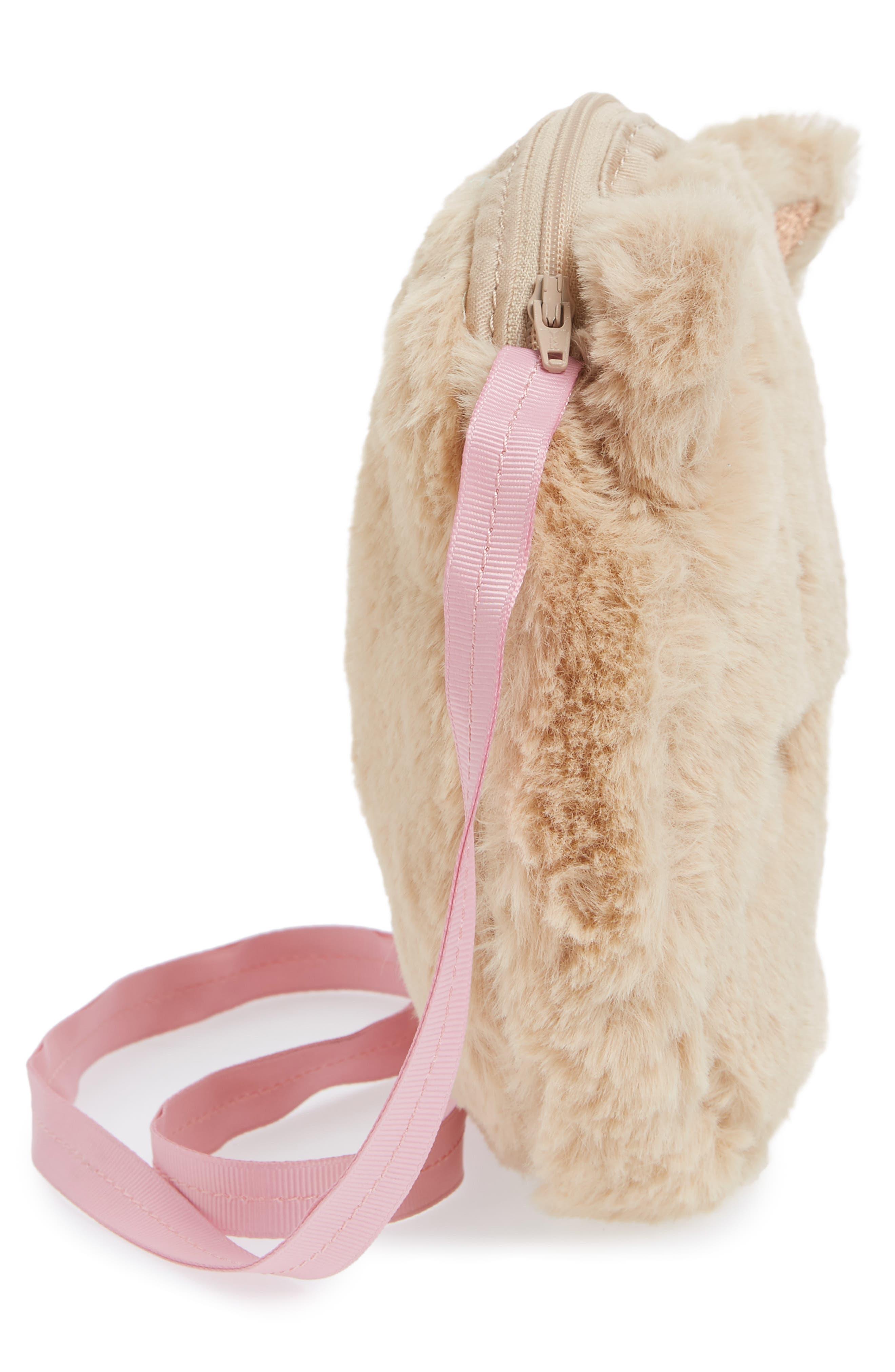 Kitty Faux Fur Crossbody Bag,                             Alternate thumbnail 3, color,                             Oat
