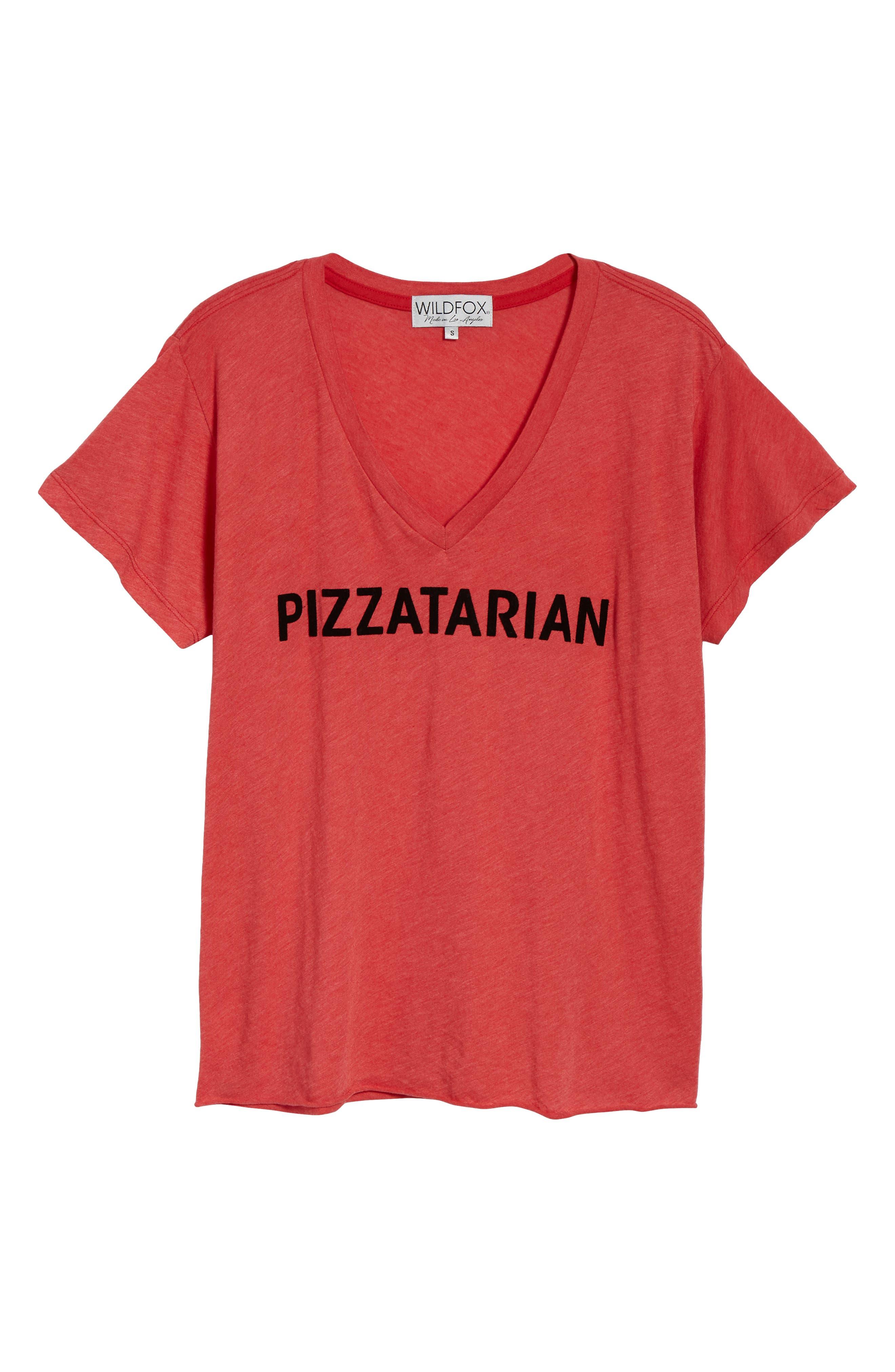 Pizzatarian Romeo Tee,                             Alternate thumbnail 6, color,                             Scarlet