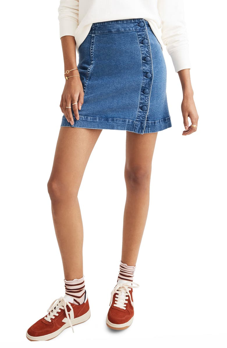 Asymmetrical Stretch Denim A-Line Miniskirt