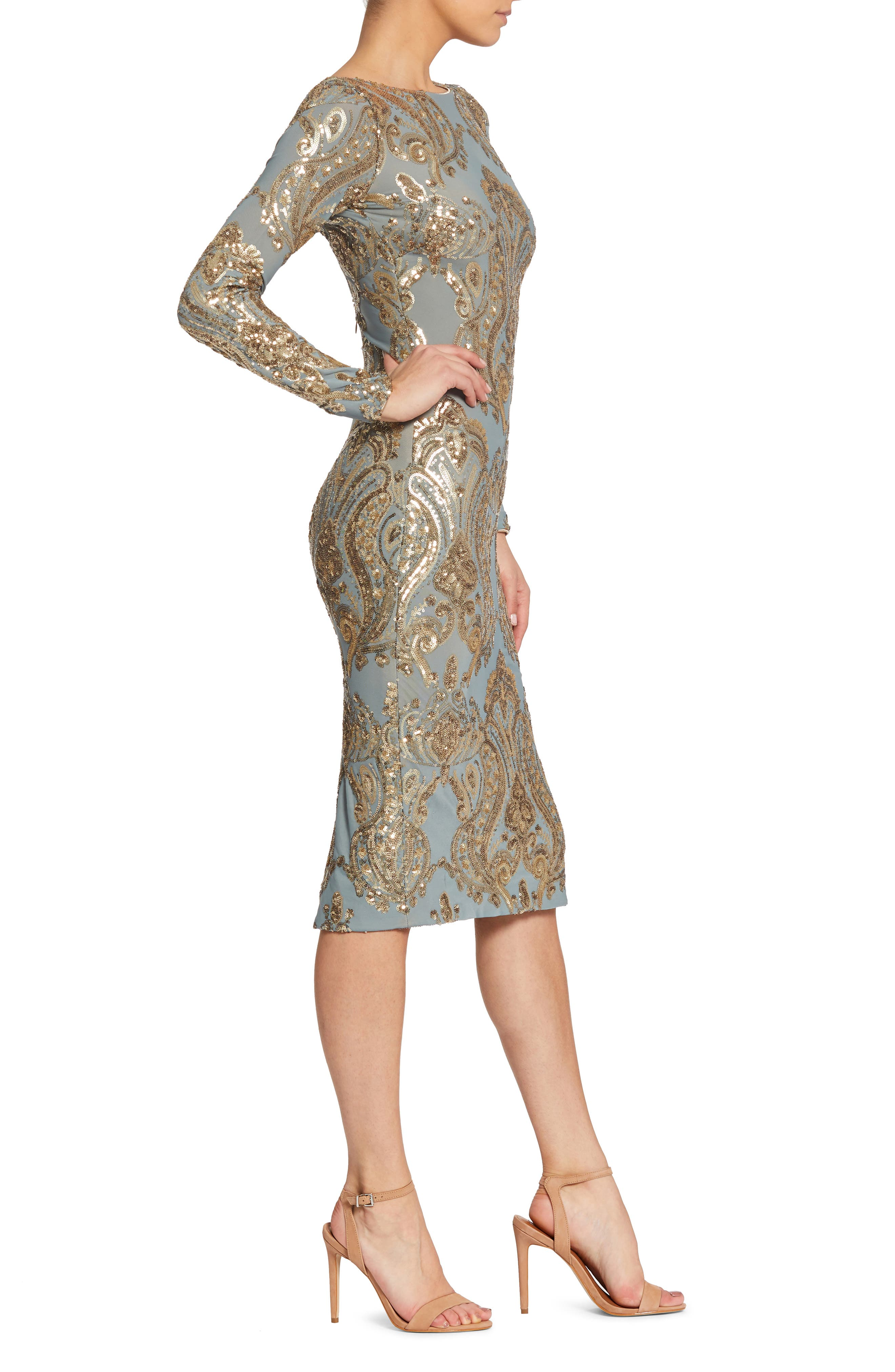 Emery Sequin Sheath Dress,                             Alternate thumbnail 3, color,                             Teal/ Gold