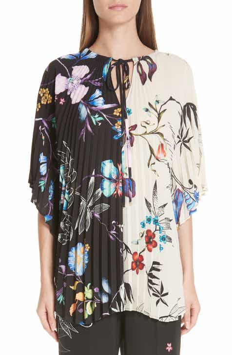 0e86f573942 Etro Floral Print Two-Tone Pleated Top