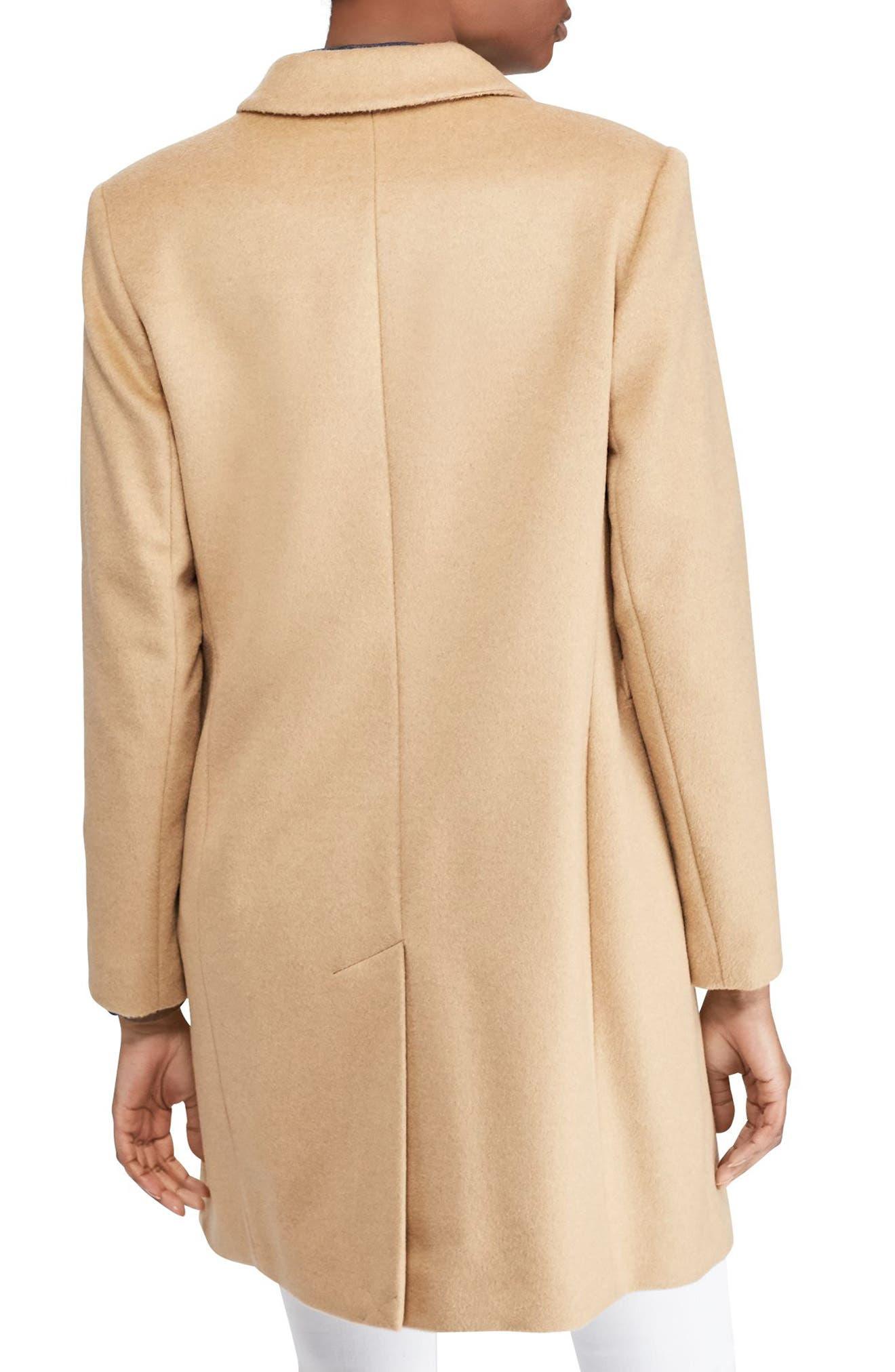 Wool Blend Reefer Coat,                             Alternate thumbnail 2, color,                             Camel