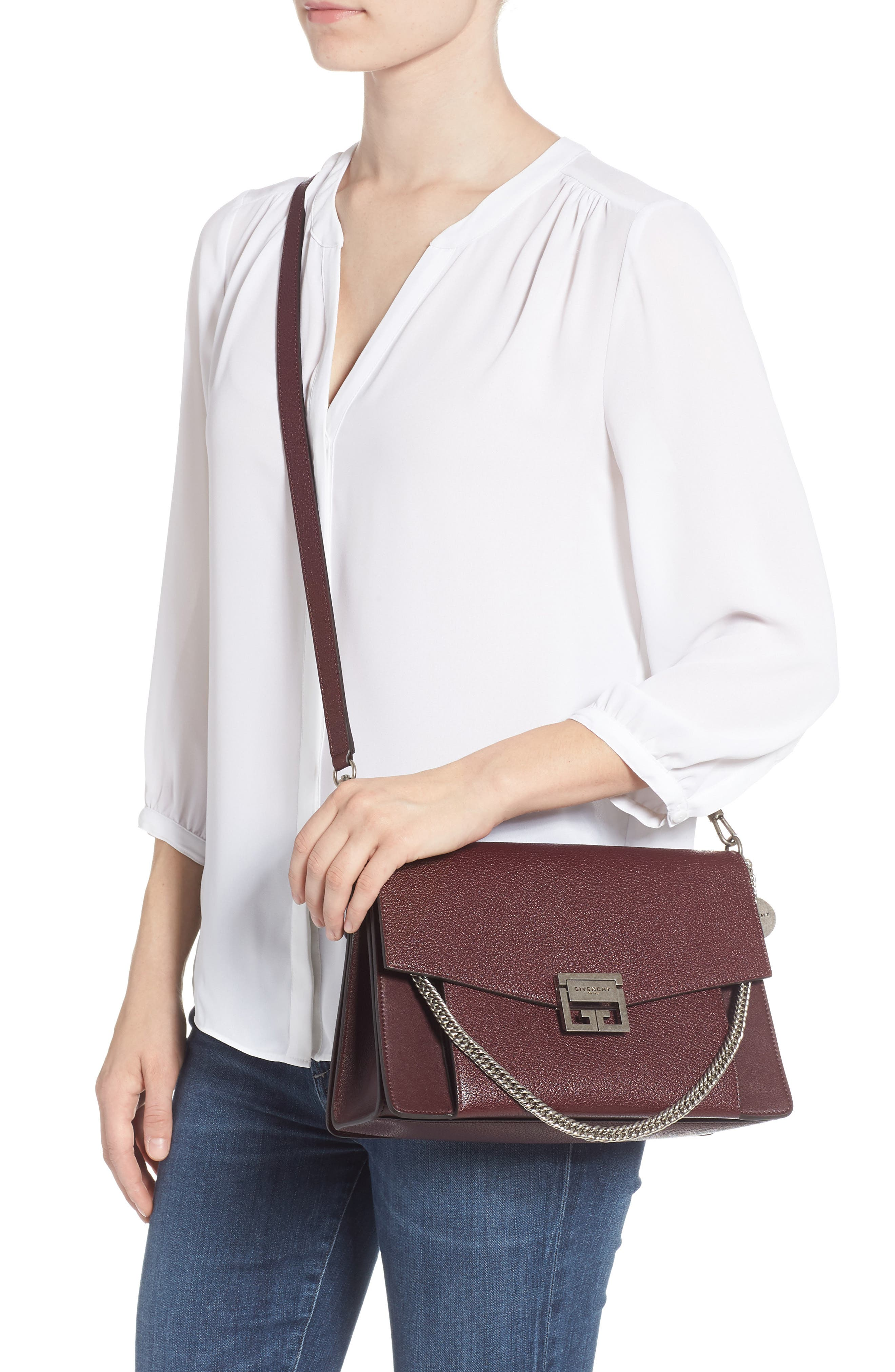 GV3 Goatskin Leather Shoulder Bag,                             Alternate thumbnail 2, color,                             Aubergine