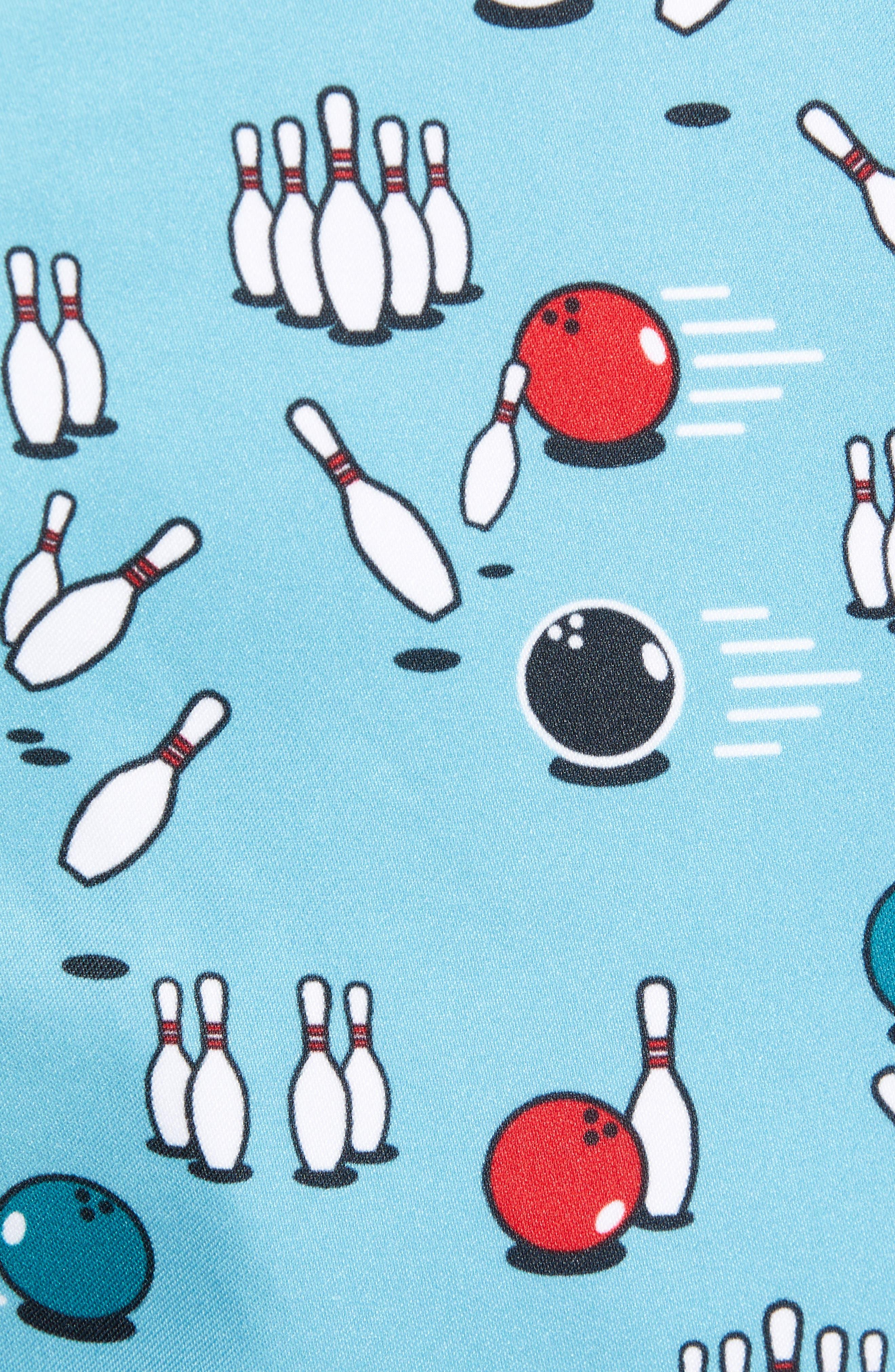 Bowling Print Swim Trunks,                             Alternate thumbnail 4, color,                             Delphinium Blue