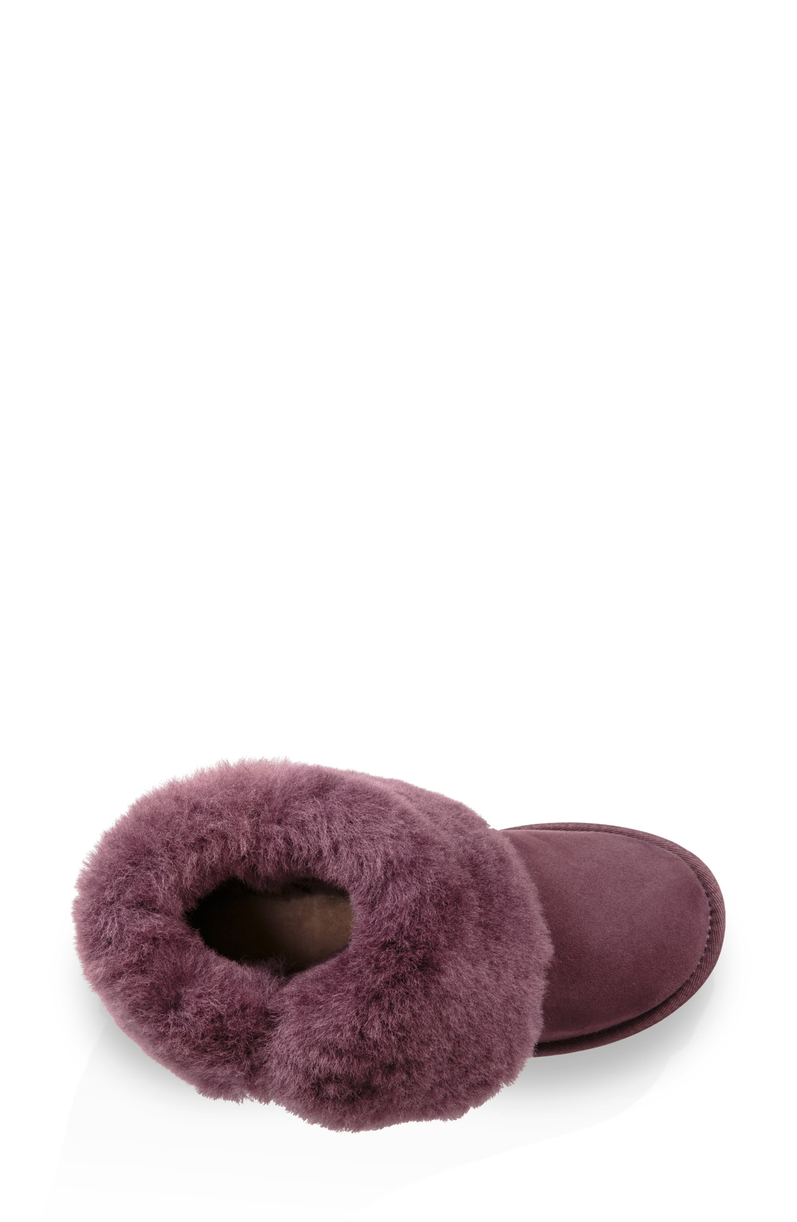 'Classic II' Genuine Shearling Lined Short Boot,                             Alternate thumbnail 2, color,                             Port