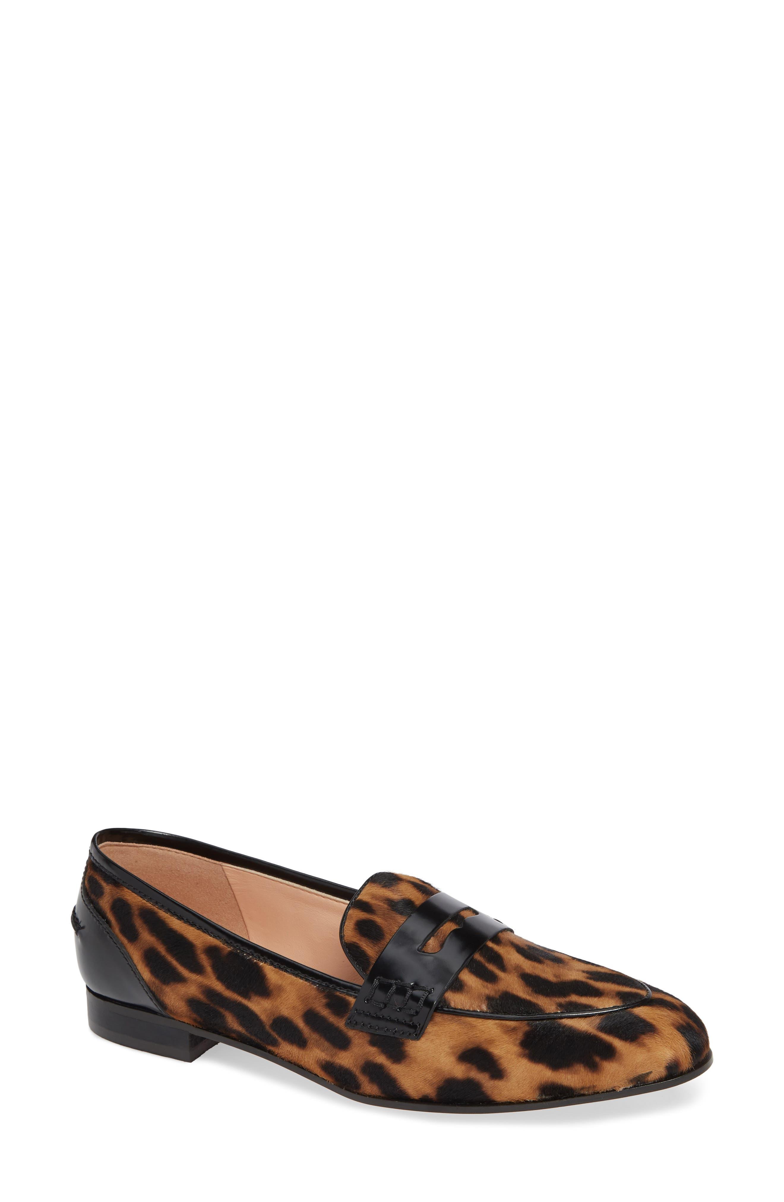 Academy Genuine Calf Hair Penny Loafer,                             Main thumbnail 1, color,                             Leopard Calf Hair