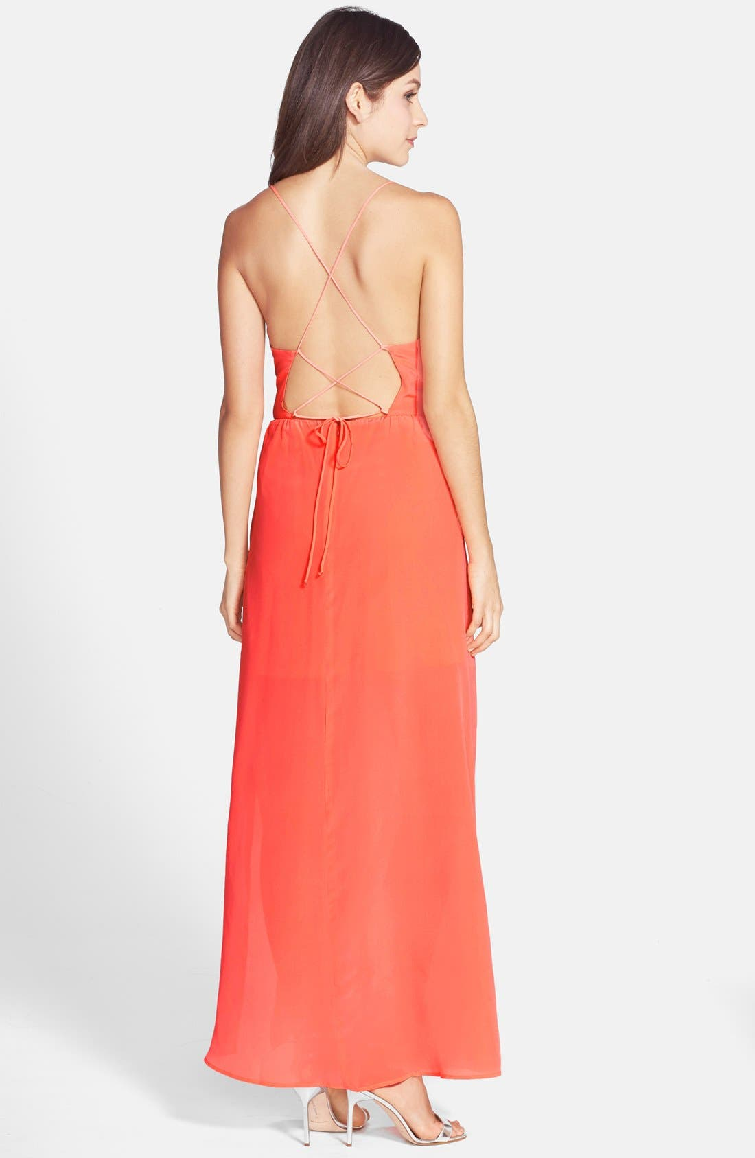 Alternate Image 2  - Myne Strappy Back Silk Crepe Gown