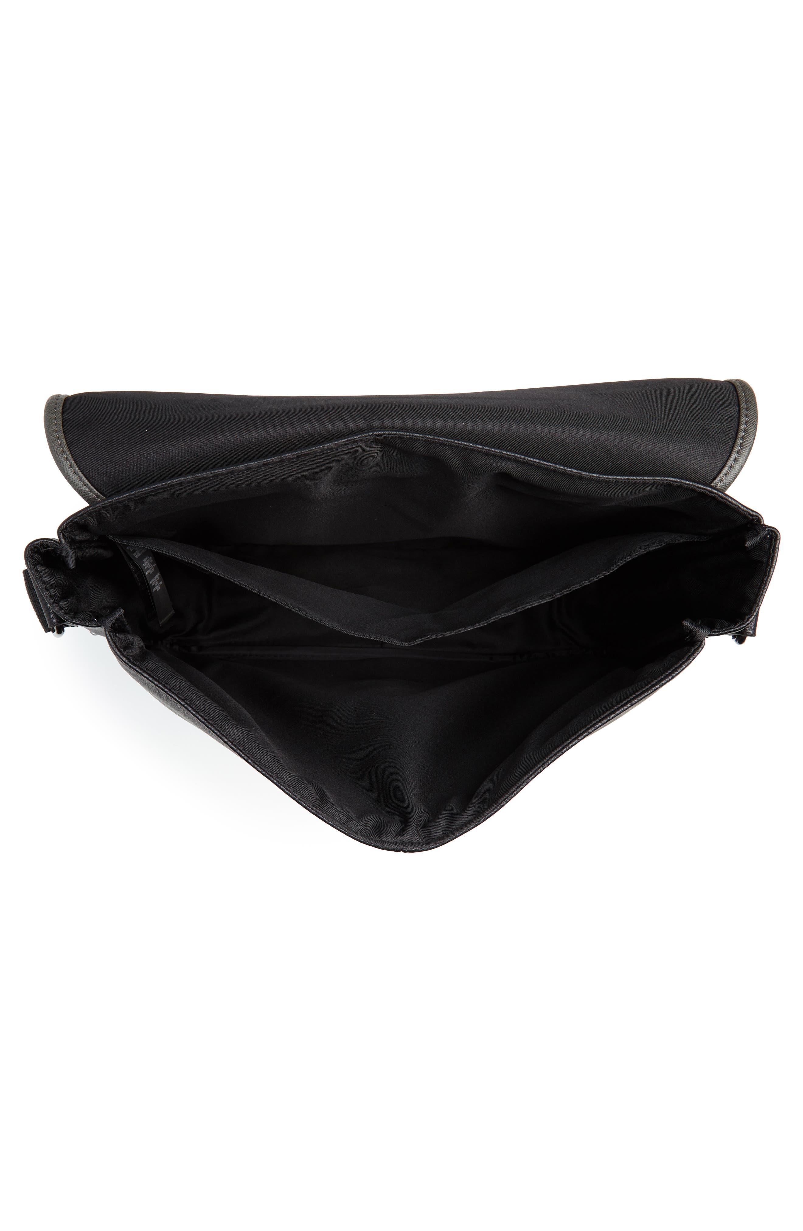 Kingcol Faux Leather Messenger Bag,                             Alternate thumbnail 6, color,                             Black