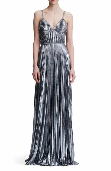 7ef7c8f5595 Marchesa Notte Pleated Lamé A-Line Gown