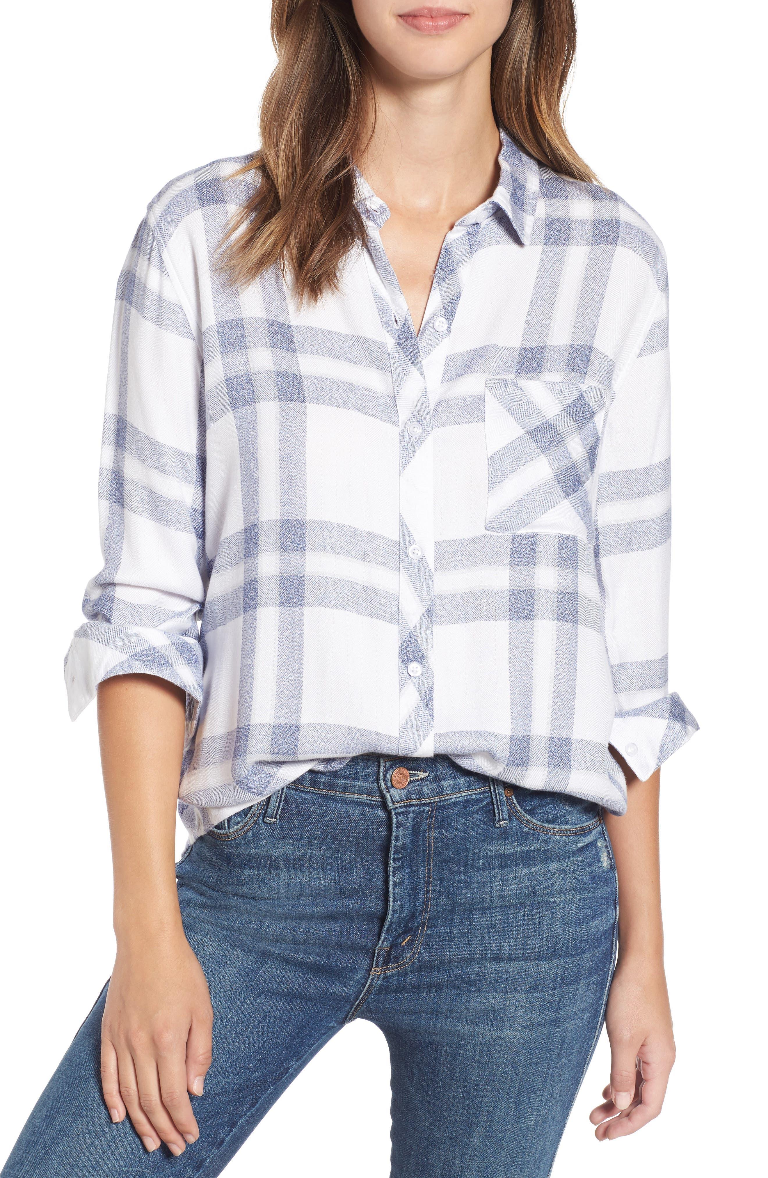 Hunter Plaid Shirt,                         Main,                         color, Riverstone White