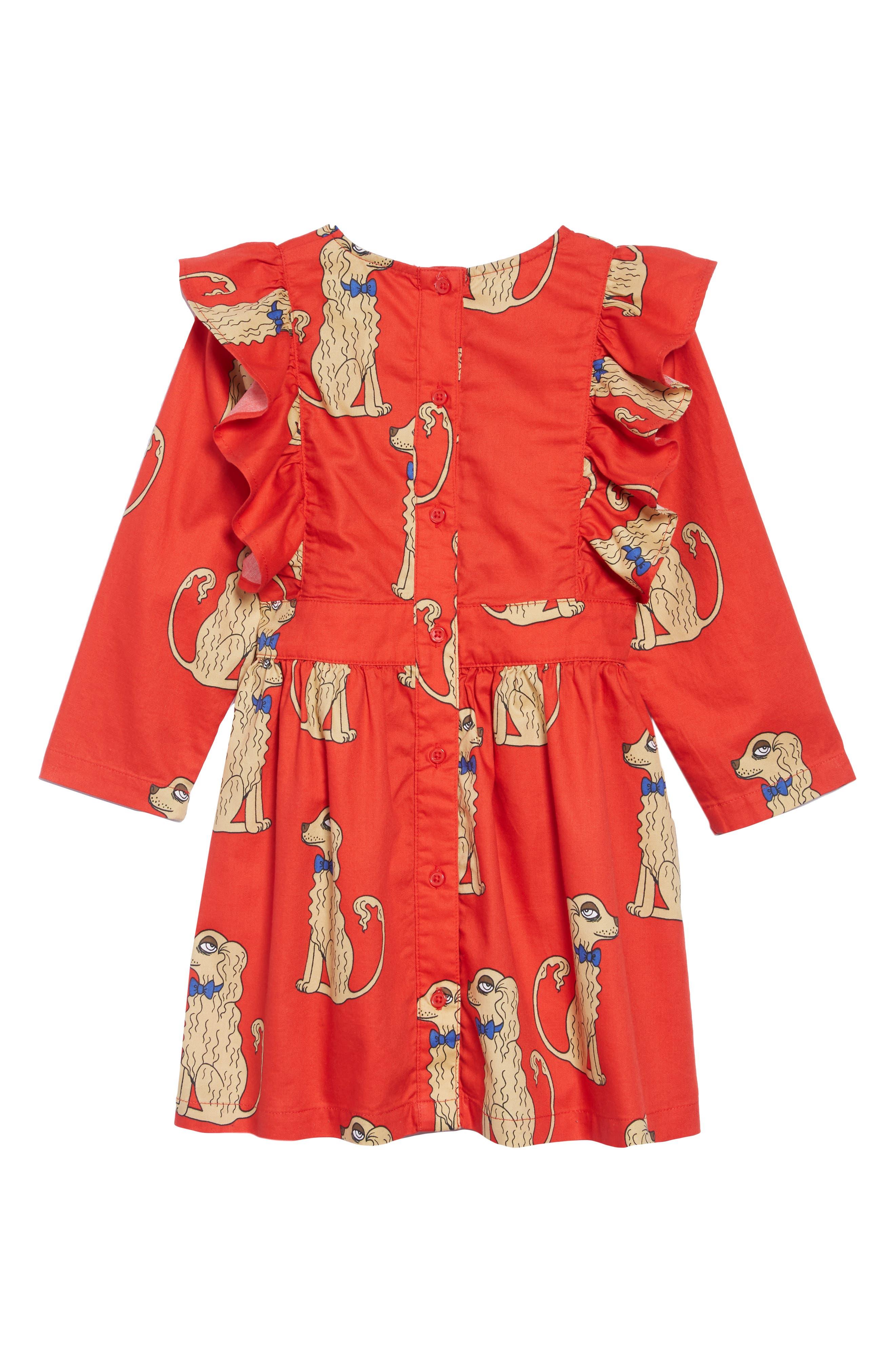 Spaniels Ruffle Dress,                             Alternate thumbnail 2, color,                             Red