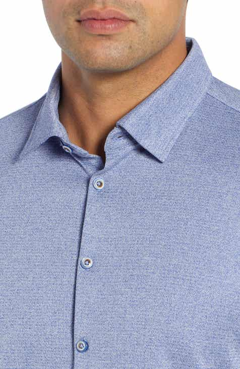 Stone Rose Trim Fit Tech Knit Sport Shirt