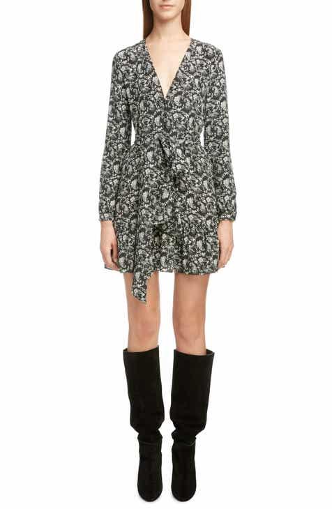 Saint Laurent Bandana Print Tie Waist Silk Dress