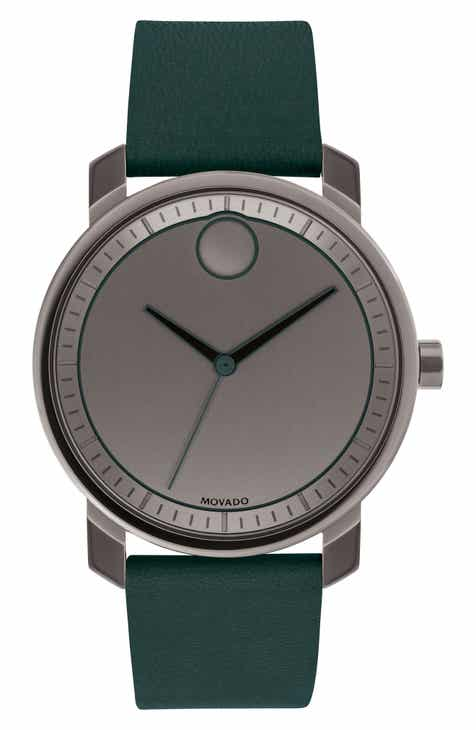 560848975 Movado Bold Leather Strap Watch, 41mm