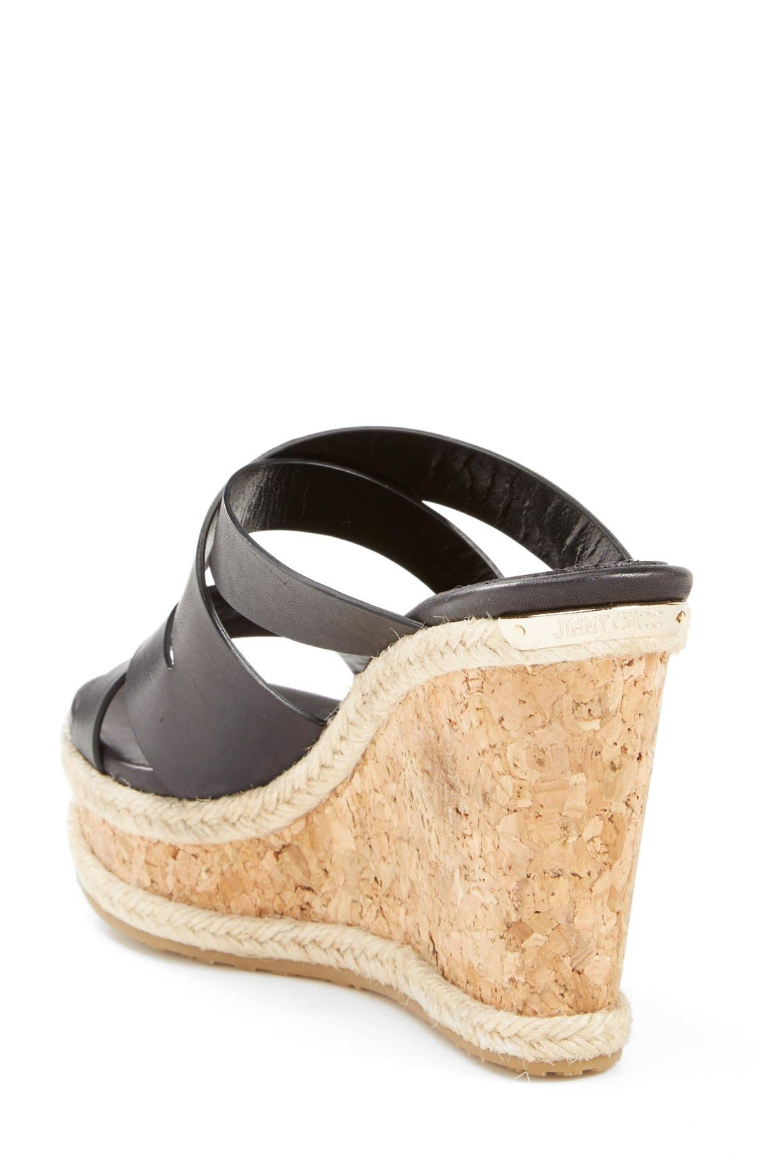 'Prisma' Leather Wedge Sandal,                             Alternate thumbnail 2, color,                             Black