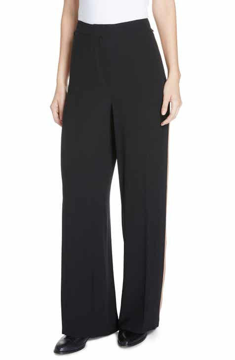 Eileen Fisher High Waist Side Stripe Silk Crepe Pants (Regular & Petite) by EILEEN FISHER