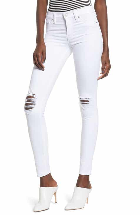 27265413486 Women's White Distressed Jeans