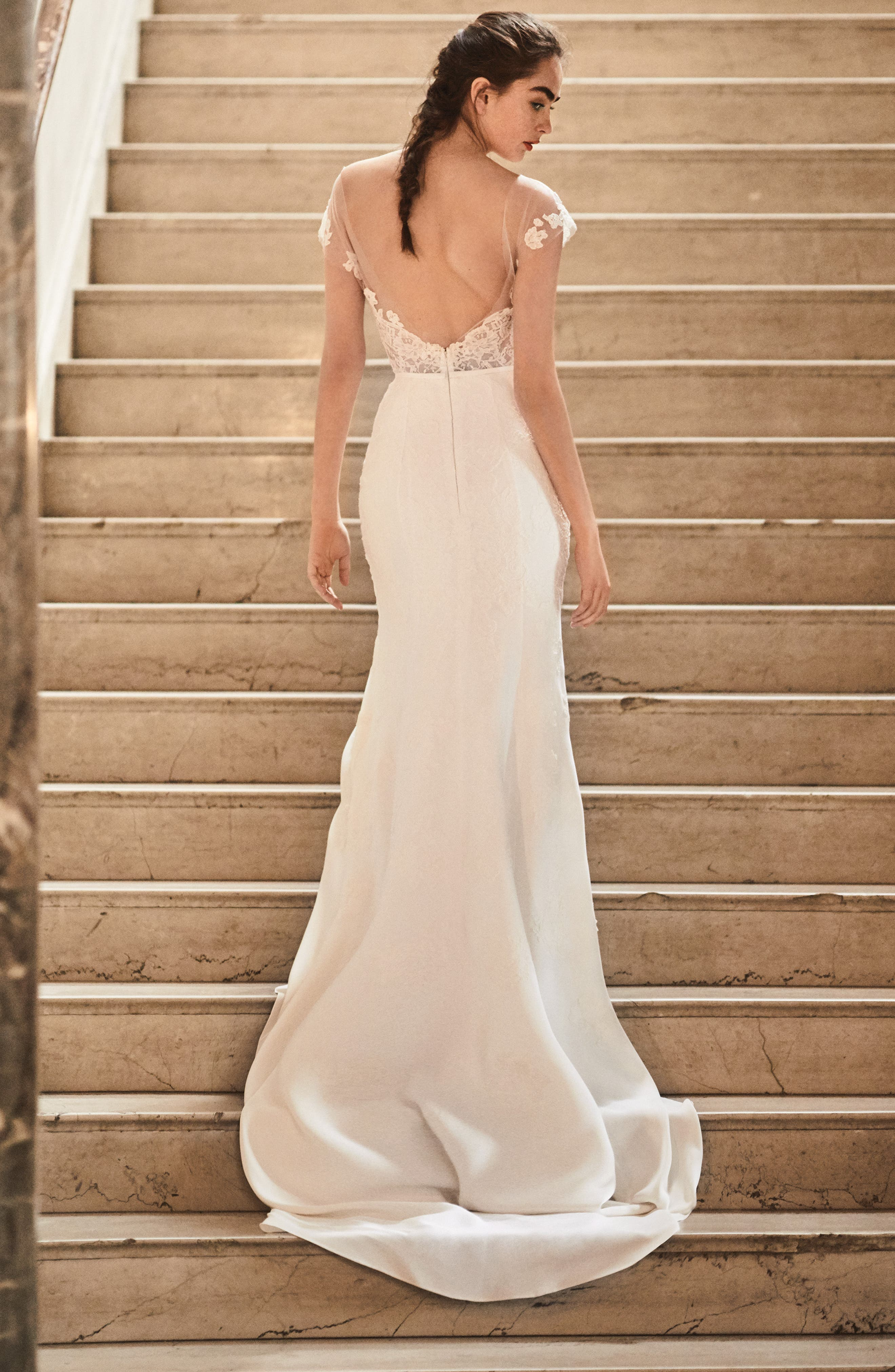 20c9bb1ba63 Ines Di Santo beaded illusion trumpet wedding dress with embellished tulle  detachable overskirt