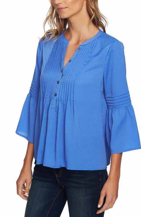 Cece Pintuck Satin Jacquard Top