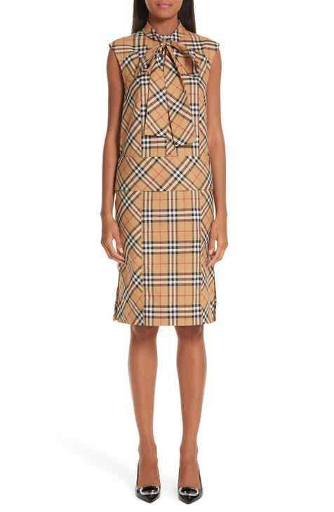 d8480593d484 Burberry Luna Tie Neck Check Dress