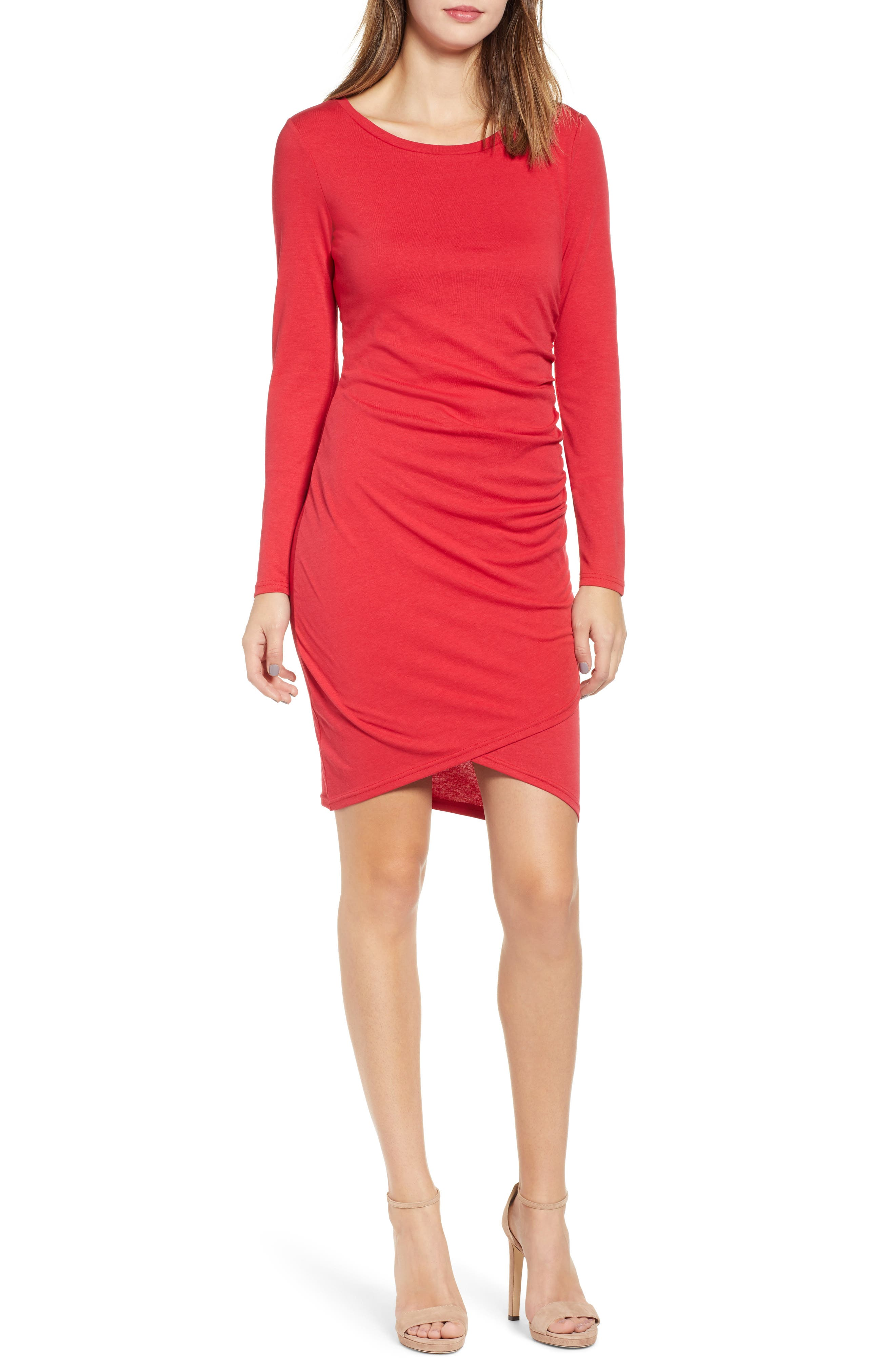 Red Long Sleeve Casual Dresses