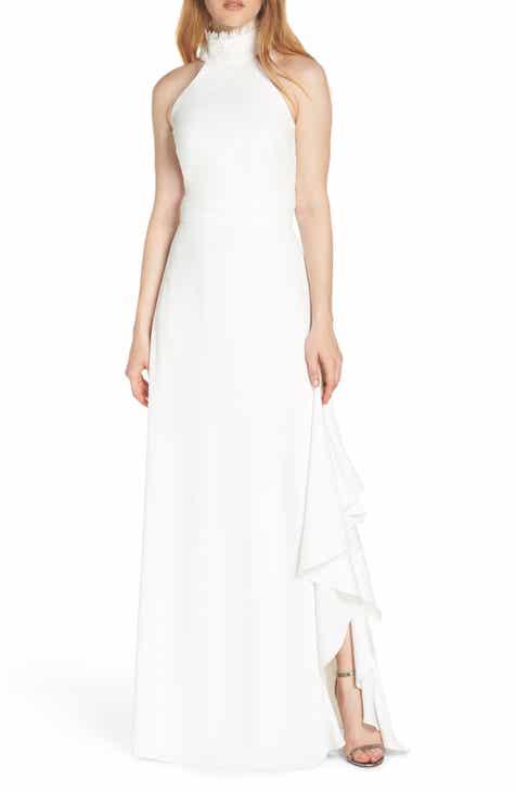 ML Monique Lhuillier Lace Neck Crepe Evening Dress 2f81b2483