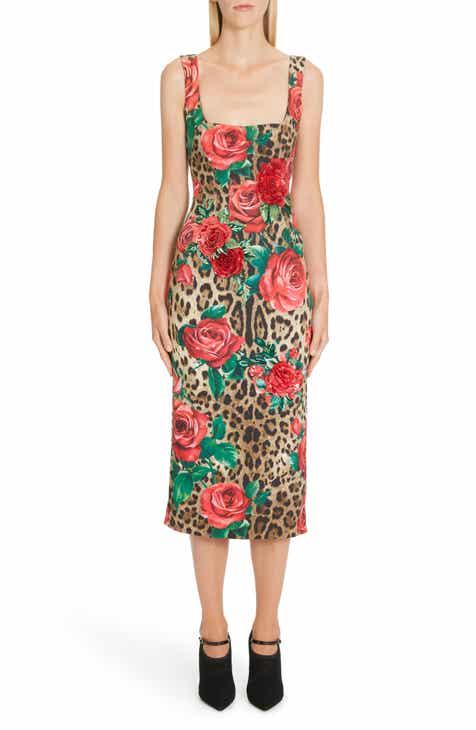 Dolce Gabbana Embellished Rose Leopard Print Cady Pencil Dress