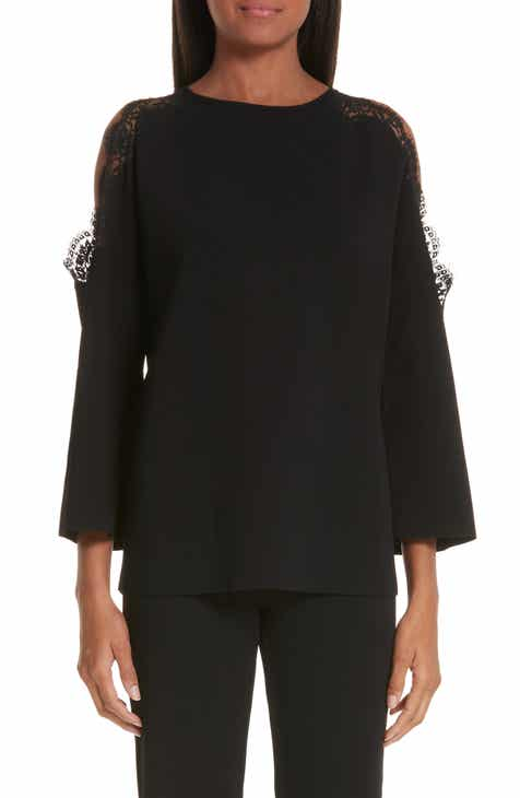 Stella McCartney Lace Trim Cold Shoulder Sweater by STELLA MCCARTNEY