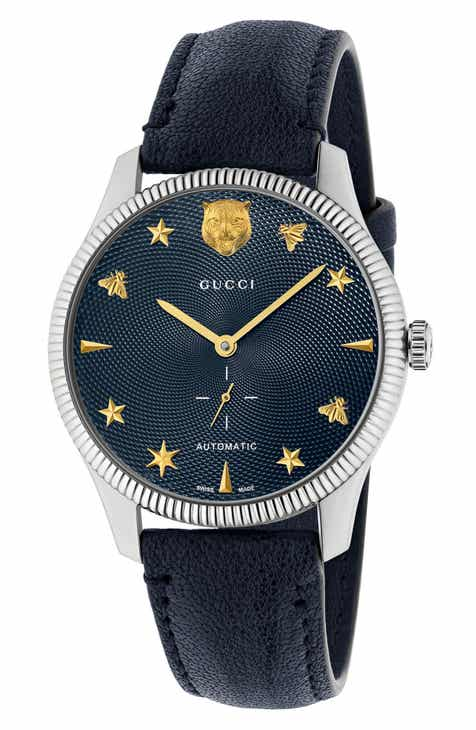 55162afc19f Gucci G-Timeless Leather Strap Watch