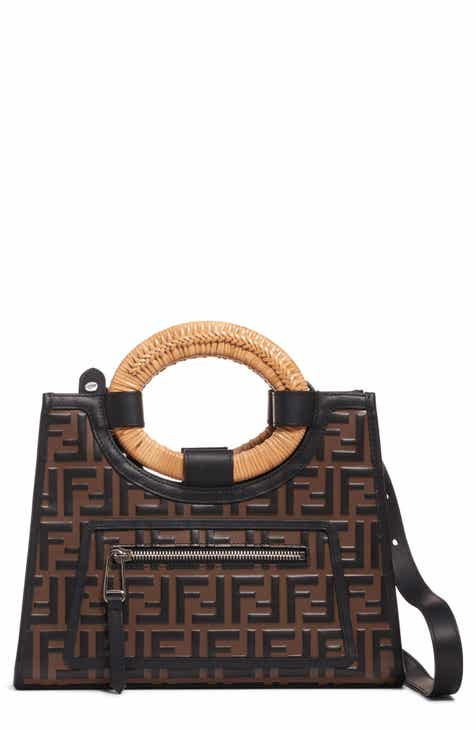 7b54173ec6 Fendi Small Runaway Logo Leather Shopper