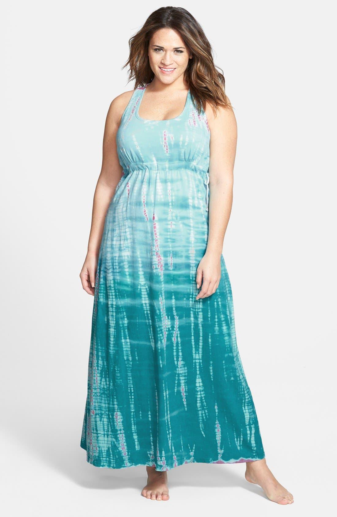 Surplice Side Tie Racerback Maxi Dress,                         Main,                         color, Aqua/ Berry Tie Dye