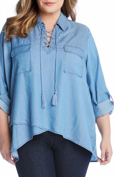 d3ac26f116 Karen Kane Lace-Up Neck Shirt (Plus Size)