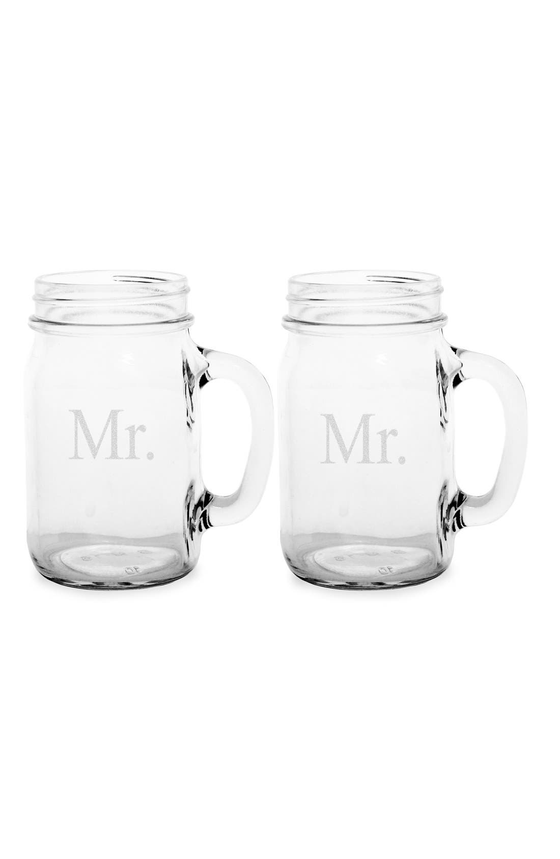 Alternate Image 2  - Cathy's Concepts 'For The Couple' Mason Jar Glasses with Handles (Set of 2)