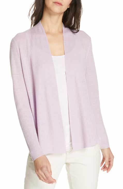 Eileen Fisher Shaped Organic Linen Cardigan (Regular   Petite) 748d8b1db