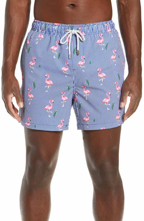 361401b68103a Vintage Summer Stripe Flamingo Swim Trunks