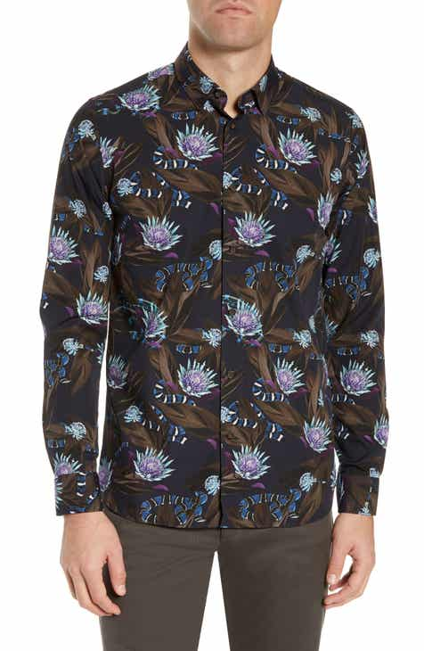 aedd220eb8a3 Ted Baker London Snakey Slim Fit Snake Print Sport Shirt