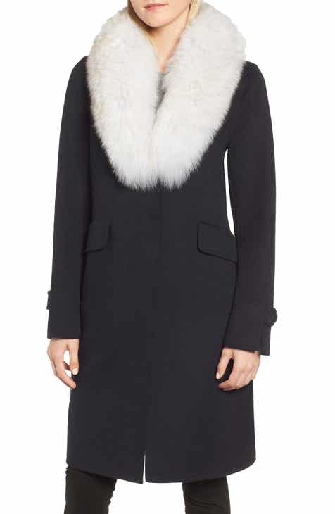 64fbc782e70a0 Derek Lam 10 Crosby Wool Blend Reefer Coat with Genuine Fox Fur Trim ...
