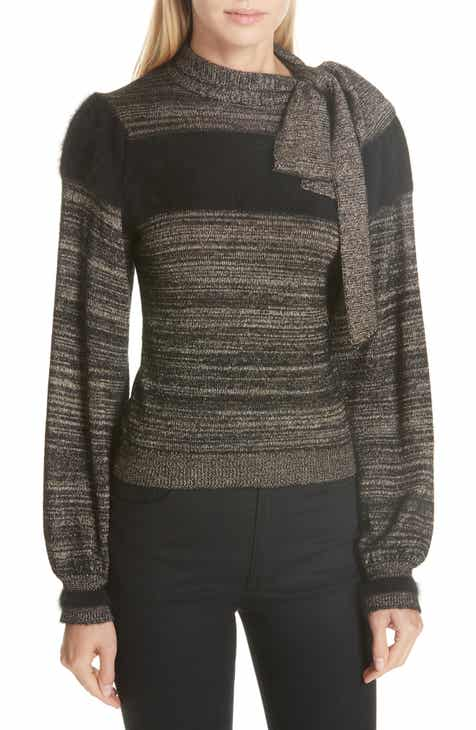 b88cce022ce7e Ulla Johnson Fabia Tie Neck Cashmere Blend Sweater