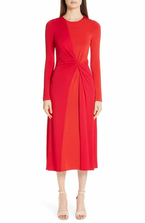 Galvan Pinwheel Twist Jersey Midi Dress